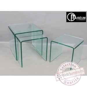 s/3 tables gigogne verre ep,12 Edelweiss -C7560