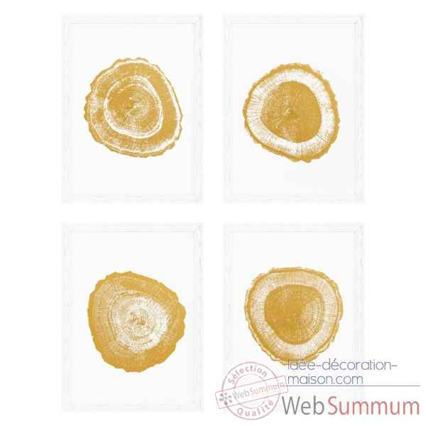 Tableaux gold foil: tree rings set de 4 eichholtz -110875