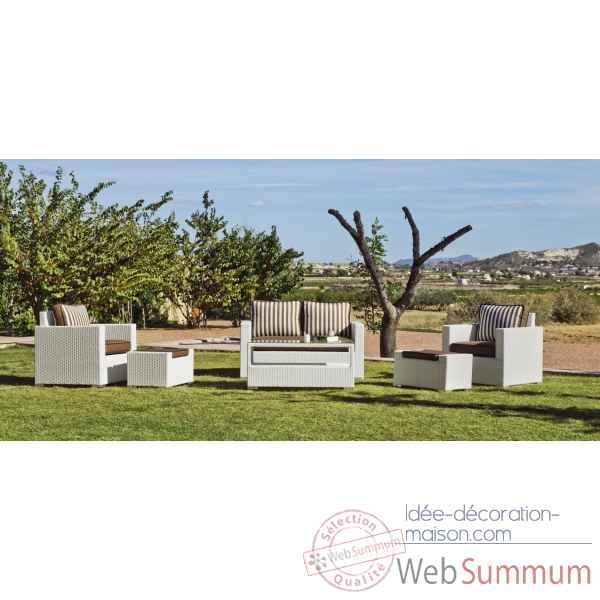 Ensemble salon de jardin tuscan 9 coussin rayé beige : 1 canapé 2pl + 2  fauteuils + 1 table basse + 2 poufs Exklusive hevea -10133-3663141