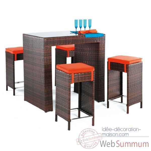 Ensemble table bar delphin et 4 tabourets coussin orange Exklusive hevea -11184-3663141