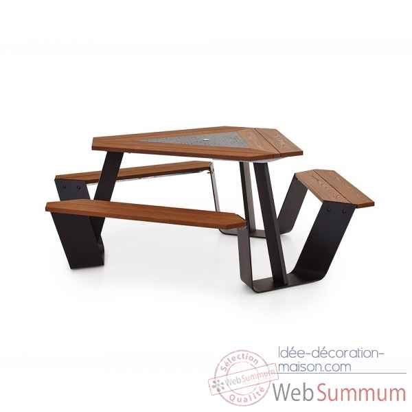 Table picnic anker cadre galvanise & pieds laques brun noir h.o.t.wood Extremis -ANBH