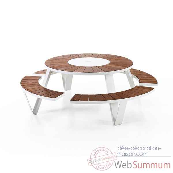 Table picnic pantagruel cadre & pieds laque blanc, h.o.t.wood Extremis -PAWH