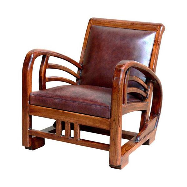 Fauteuil bali avec assise en cuir buffalo tr s for Meuble fauteuil
