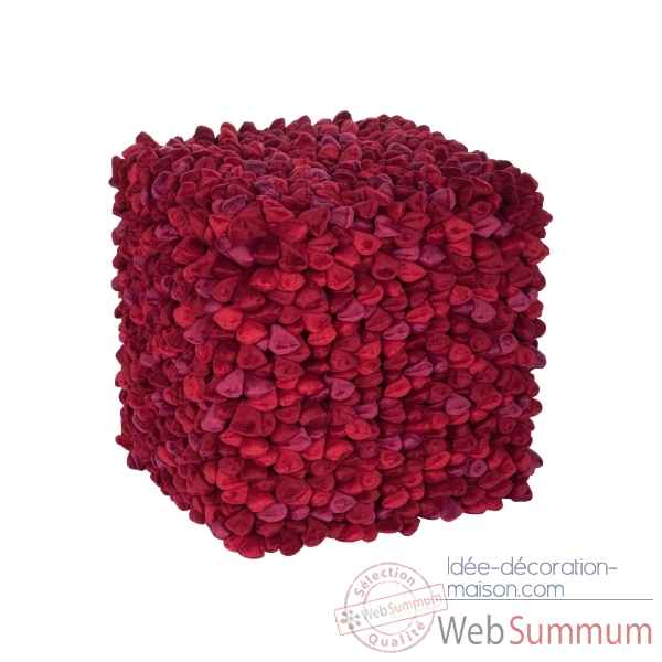 Pouf cube pebble rouge -330-620-103