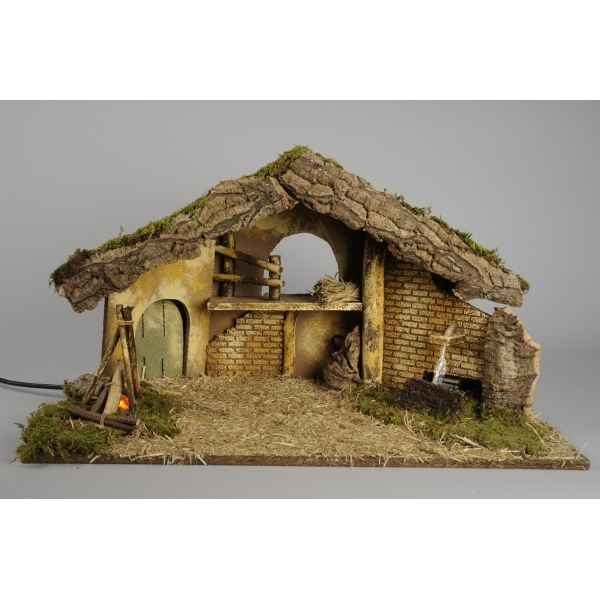 Creche de Noel source et cheminee Kaemingk -592080