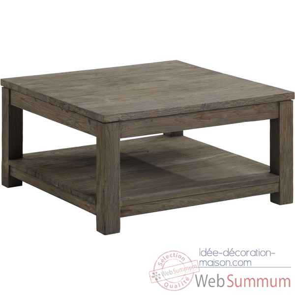 Table basse carree mm drift Teck Recycle gris brosse KOK M40G