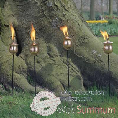 4 Lampes a huile Brussels cuivre rustique Aristo - 820665