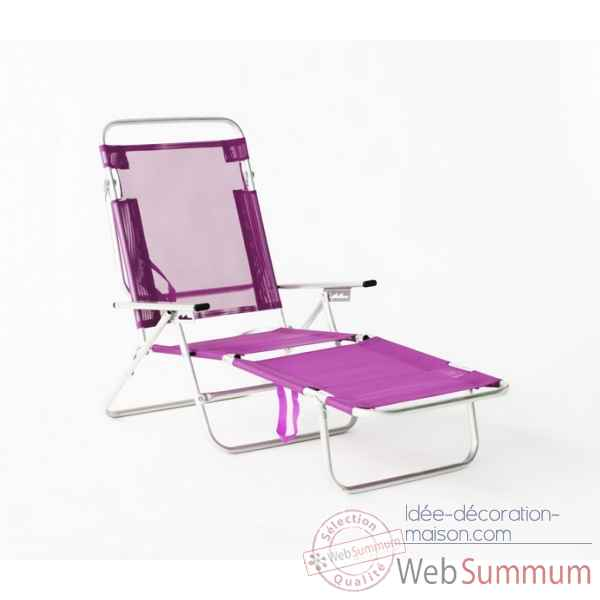 Segura-175 - chaise longue de plage pliable multipositions longueur : 145/185cm hauteur : 100cm couleur fuschia - lot de 4 Lido by hevea -10025-3663141
