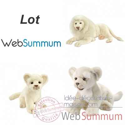 Lot peluches reasistes lion blanc et lionceaux Anima -LWS-448