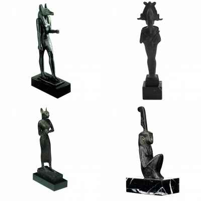 lot 4 statuettes Musee reproduction Egypte Anubis, Osiris, Bastet, Maat -LWS-478