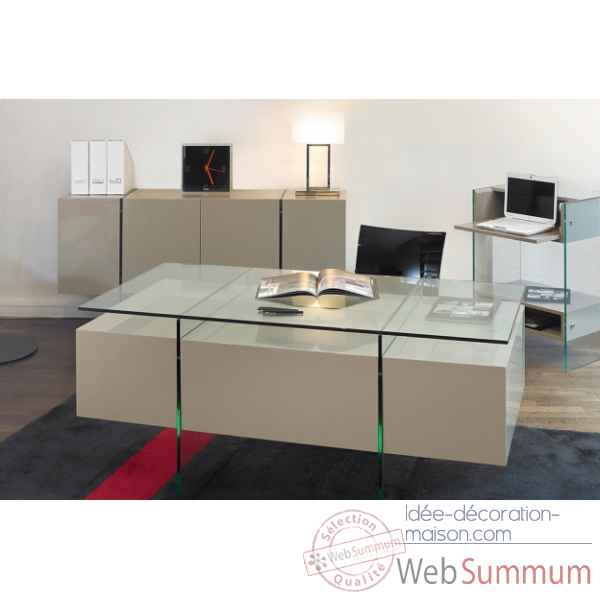 Bureau laque & verre taupe Marais International -LUX470LT