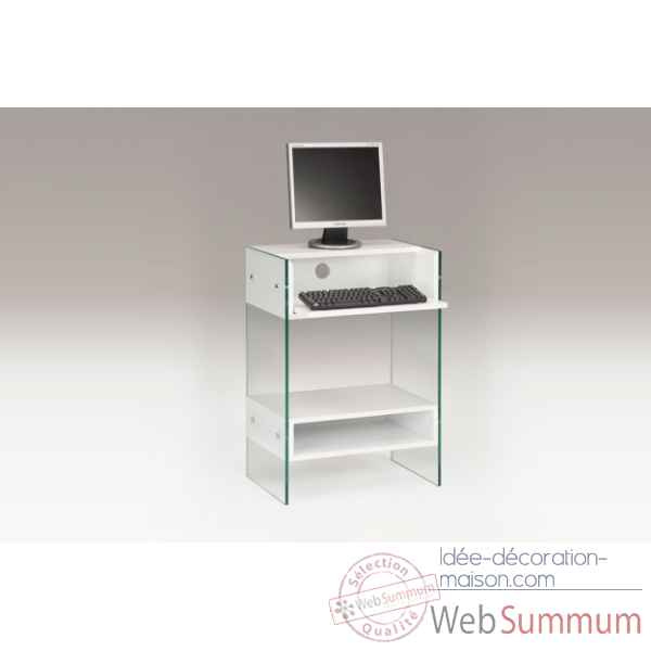 Meuble informatique laque & verre taupe Marais International -LUX480LT