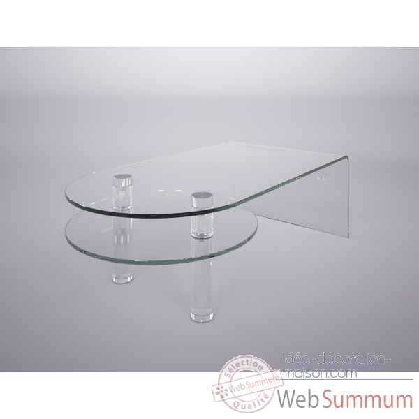 Table basse en verre bombe & plexi Marais International -MT120