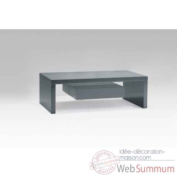 Table basse laquee gris avec tiroirs Marais International -SYRA165LG