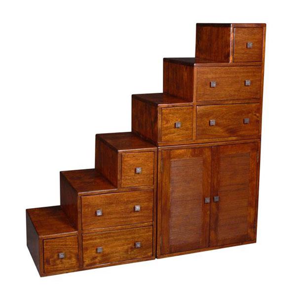 meuble escalier avec casiers et portes stri meuble d 39 indon sie 53970. Black Bedroom Furniture Sets. Home Design Ideas