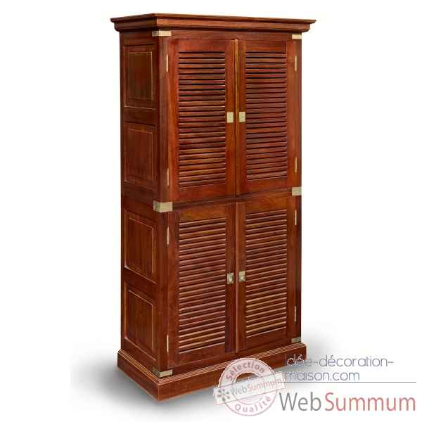 armoire haute a 2 corps en acajou massif avec poignees dans mobilier marin. Black Bedroom Furniture Sets. Home Design Ideas