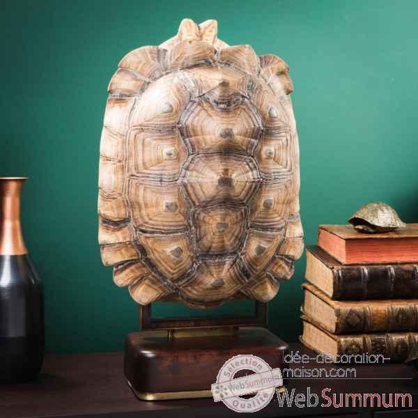 Carapace De Tortue Sulcata Sur Socle Precieux Objet De Curiosite  PU627
