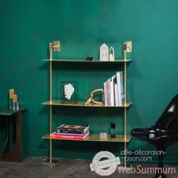 Etagere laiton brillant sections carrees pm Objet de Curiosite -MB036