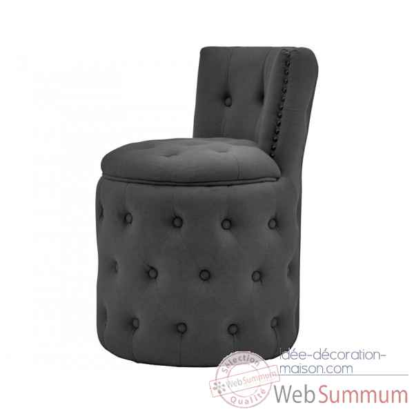 Fauteuil capitonne rond lin anthracite amelie Opjet