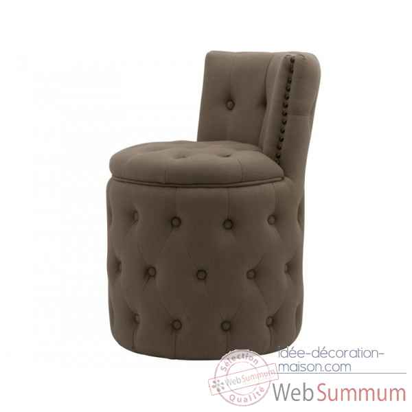Fauteuil capitonne rond lin taupe amelie Opjet
