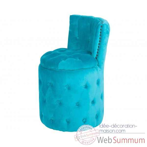 Fauteuil capitonne rond turquoise amelie Opjet