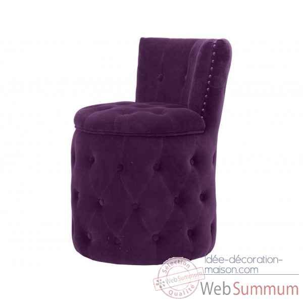 fauteuil capitonne rond velours aubergine amelie opjet dans chaise design de meuble salon sur. Black Bedroom Furniture Sets. Home Design Ideas