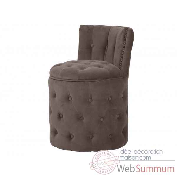 Fauteuil capitonne rond velours taupe amelie Opjet