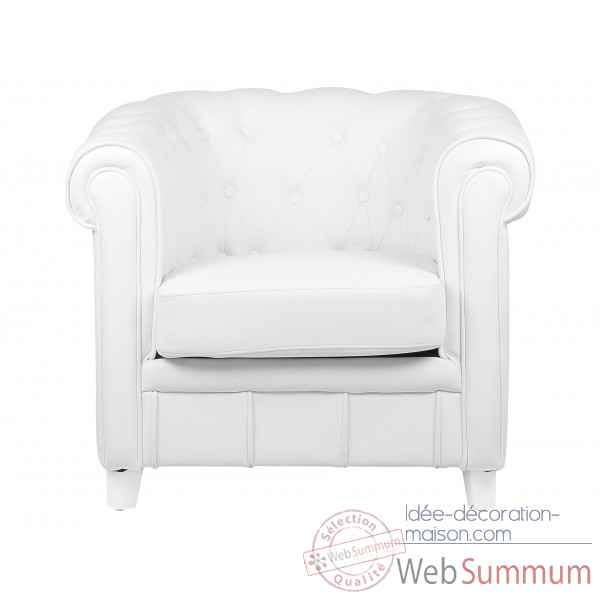 fauteuil chesterfield simili cuir blanc opjet dans chaise. Black Bedroom Furniture Sets. Home Design Ideas