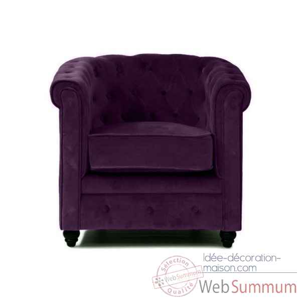 Fauteuil chesterfield velours aubergine Opjet