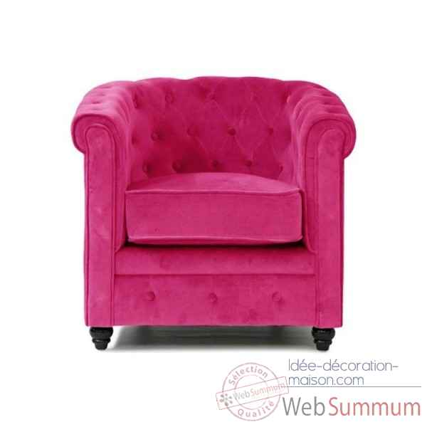 Fauteuil chesterfield velours fushia Opjet