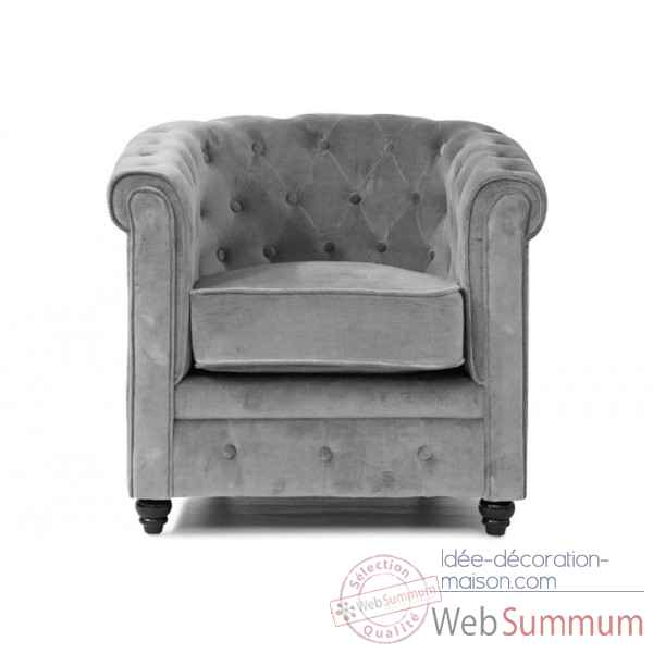 Fauteuil chesterfield velours gris Opjet