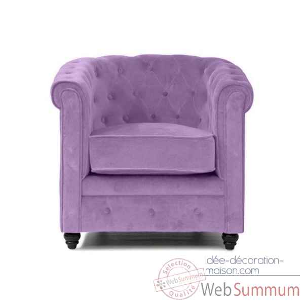 Fauteuil chesterfield velours lilas Opjet