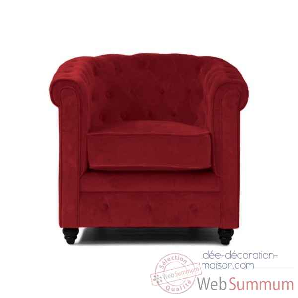Fauteuil chesterfield velours rouge Opjet