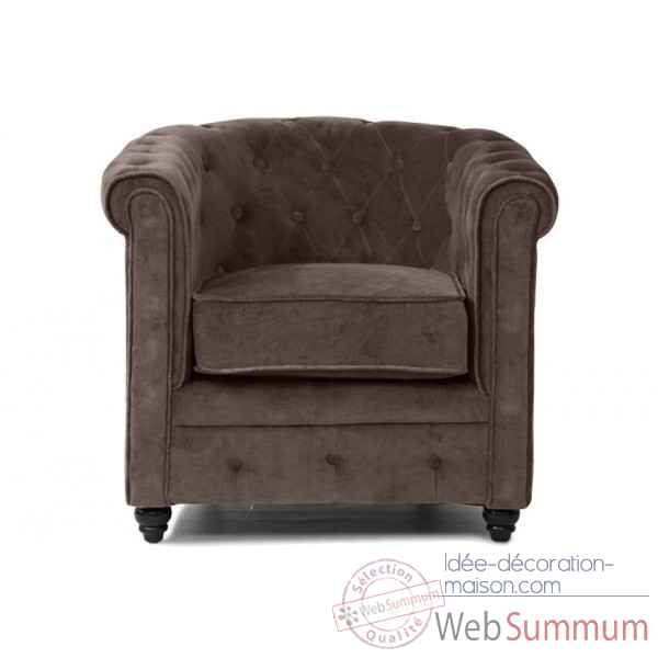 Fauteuil chesterfield velours taupe Opjet