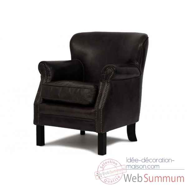 fauteuil club cuir vintage noir opjet dans chaise design de meuble salon sur id e d coration maison. Black Bedroom Furniture Sets. Home Design Ideas