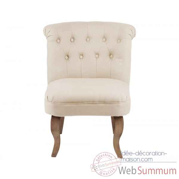 Fauteuil crapaud capitonne beige chambord Opjet