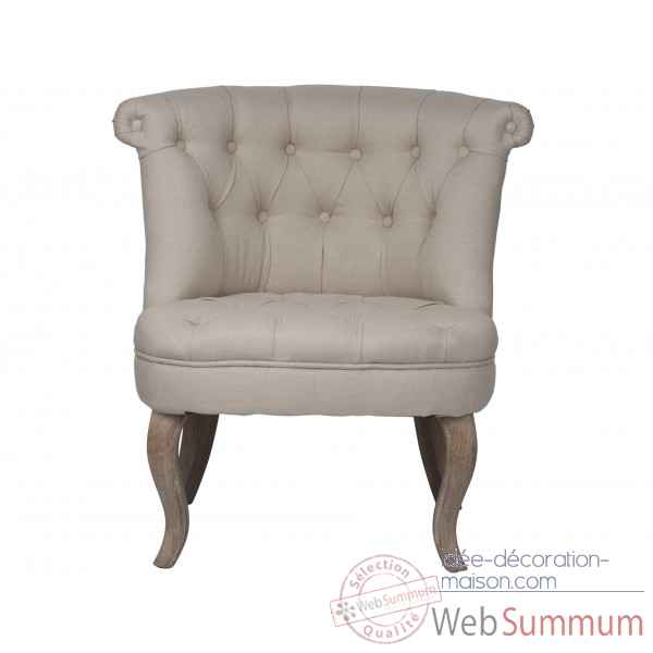 Fauteuil crapaud capitonne lin beige trianon Opjet