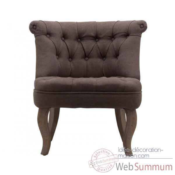 Fauteuil crapaud capitonne marron trianon Opjet