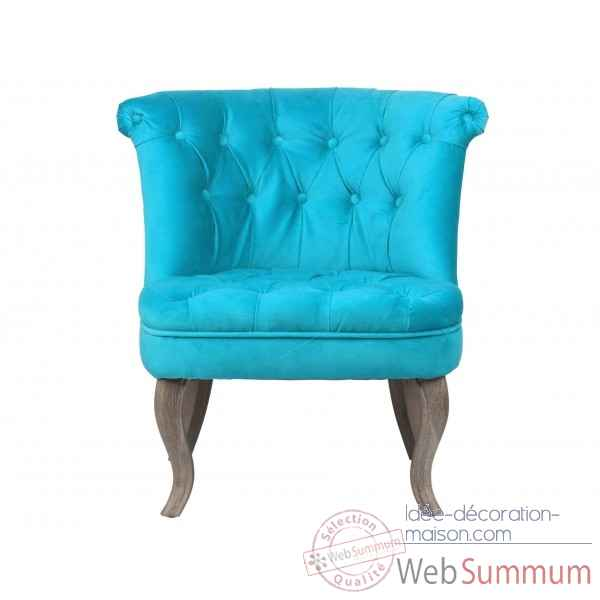 Fauteuil crapaud capitonne turquoise trianon Opjet