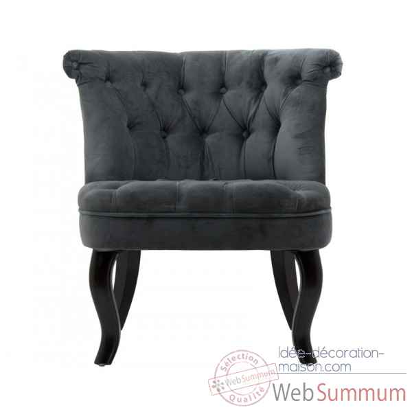 Fauteuil crapaud capitonne velours anthracite trianon Opjet