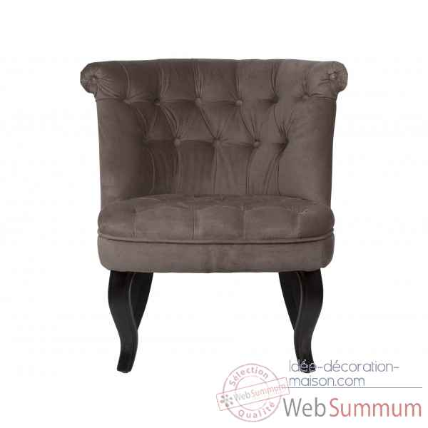 Fauteuil crapaud capitonne velours taupe trianon Opjet