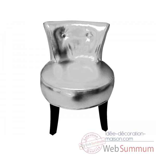 Fauteuil crapaud simili cuir argent Opjet