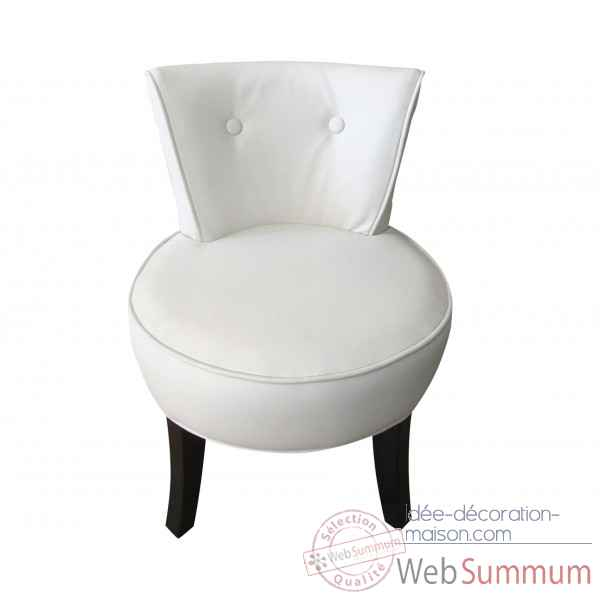 Fauteuil crapaud simili cuir blanc Opjet