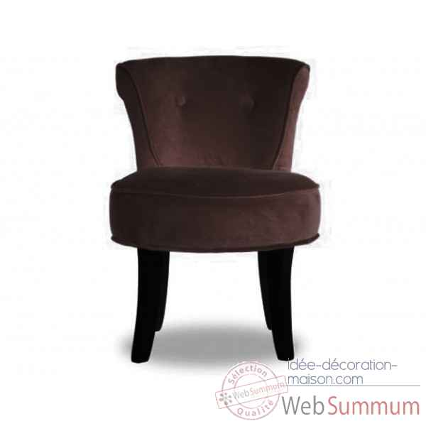 Fauteuil crapaud velours choco Opjet