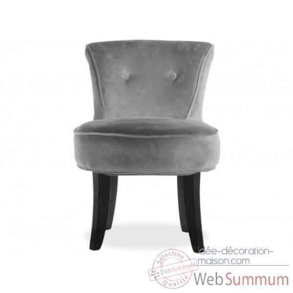 Fauteuil crapaud velours gris Opjet