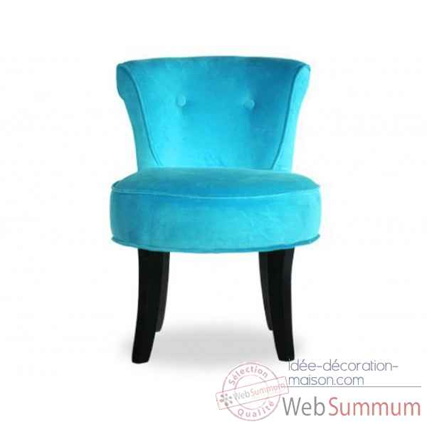 Fauteuil crapaud velours turquoise Opjet
