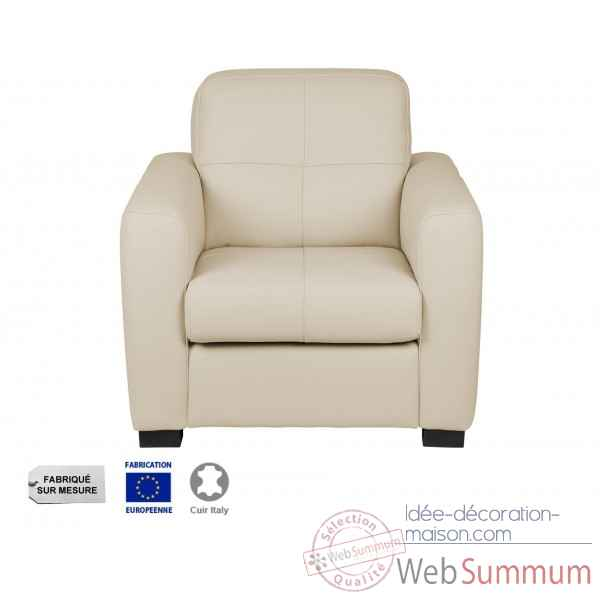 Fauteuil cuir ivoire milano Opjet