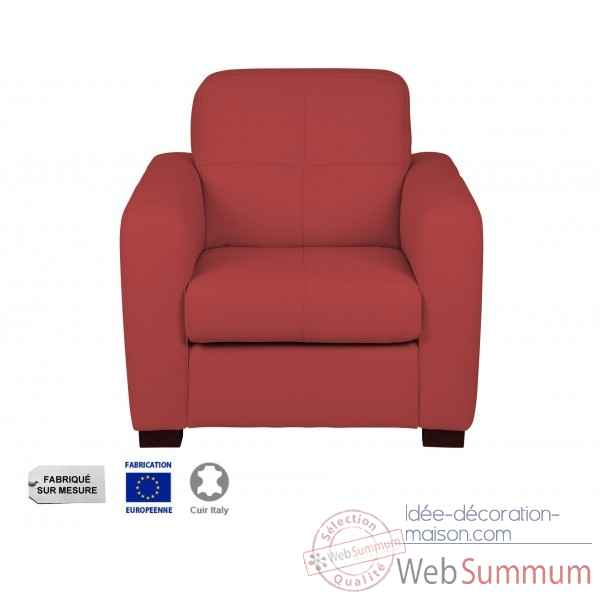 Fauteuil cuir rouge milano Opjet