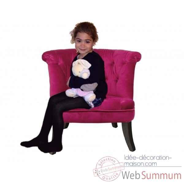 Petit fauteuil crapaud capitonne velours fushia opjet dans - Petit fauteuil velours ...