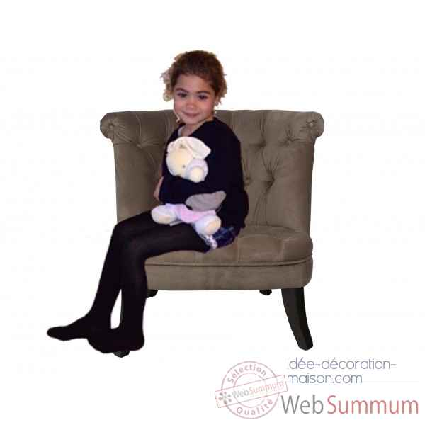 Petit fauteuil crapaud capitonne velours taupe Opjet